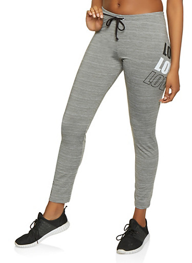 Love Graphic Active Pants,GRAY,large