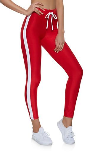 Soft Knit Drawstring Waist Leggings,RED,large