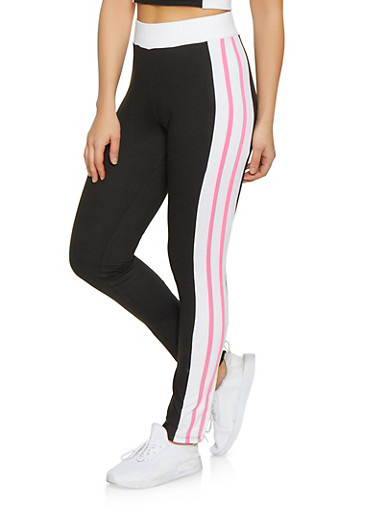 Soft Knit Varsity Stripe Leggings,BLACK/WHITE,large