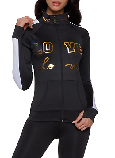 Love Graphic Active Sweatshirt,BLACK/WHITE,large