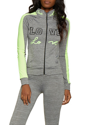 Love Graphic Active Sweatshirt,LIME,large