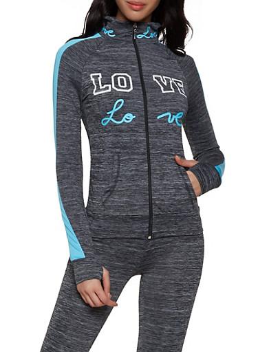 Love Graphic Active Sweatshirt,TURQUOISE,large