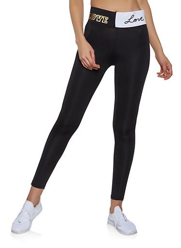 Love Graphic Waist Active Leggings,BLACK/WHITE,large