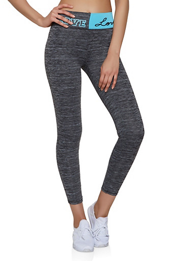 Love Graphic Waist Active Leggings,TURQUOISE,large