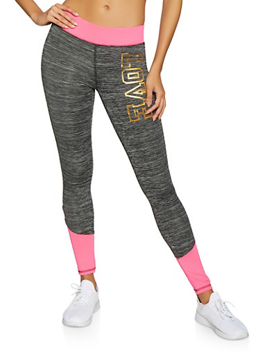 Foil Love Color Block Activewear Leggings,CHARCOAL,large