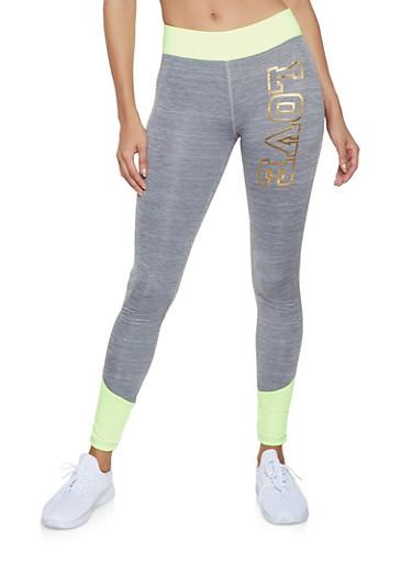 Foil Love Color Block Activewear Leggings,LIME,large