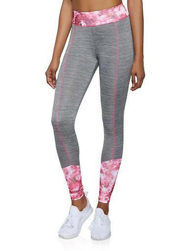 Printed Color Block Active Leggings,GRAY,large