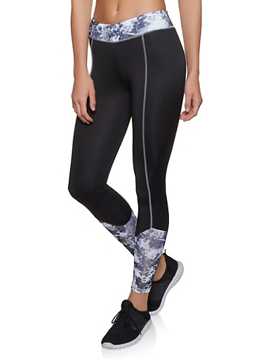 Printed Color Block Active Leggings,BLACK/WHITE,large
