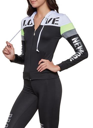 City Graphic Color Block Activewear Top,BLACK/WHITE,large