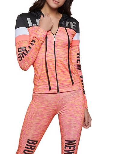 City Graphic Color Block Activewear Top,PINK,large