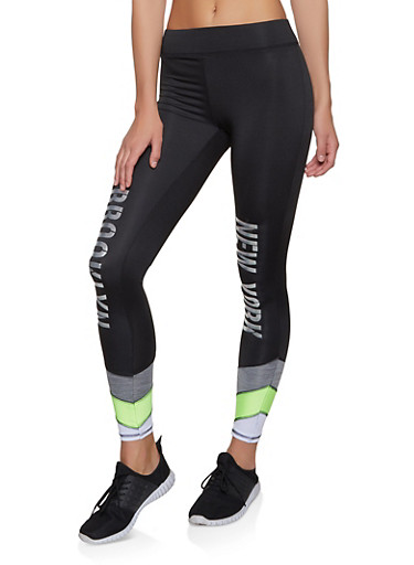 City Graphic Color Block Activewear Leggings,BLACK/WHITE,large