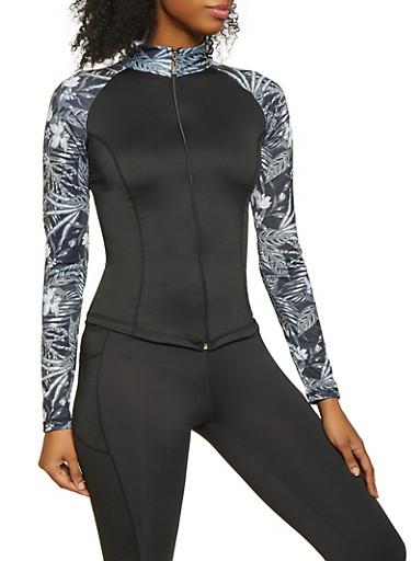 Color Block Activewear Zip Front Top,BLK PTN,large