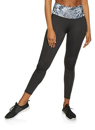 Color Block Activewear Leggings | 1058038347631,BLK PTN,large