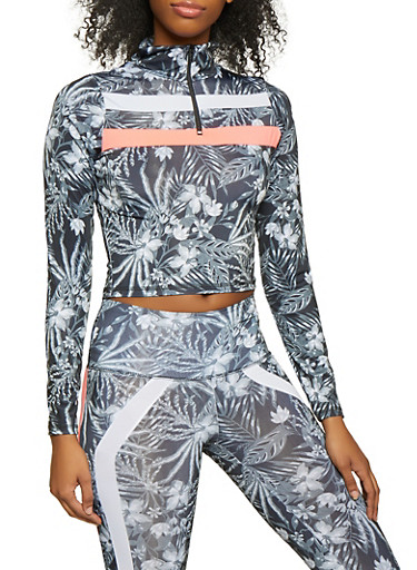 Two Tone Detail Half Zip Activewear Top,GRAY,large