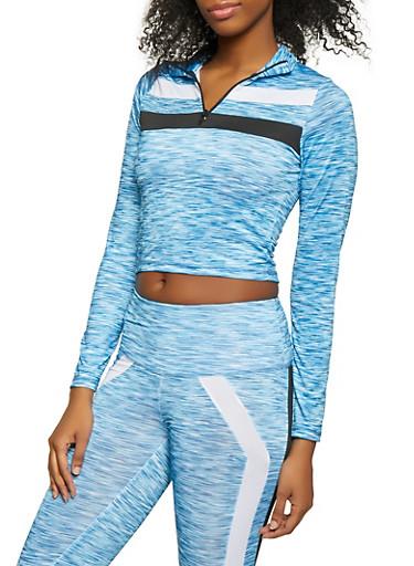 Two Tone Detail Half Zip Activewear Top,BLUE,large