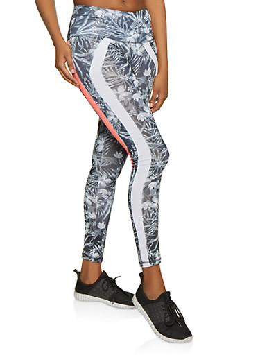 Two Tone Stripe Active Leggings,GRAY,large