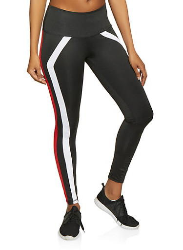 Two Tone Stripe Active Leggings,RED,large