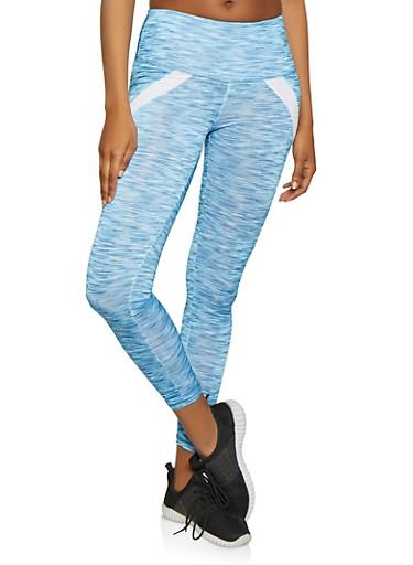 Two Tone Stripe Active Leggings,BLUE,large