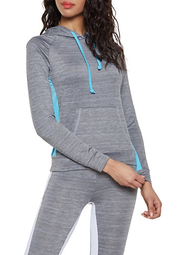 Color Block Hooded Activewear Top,TURQUOISE,large
