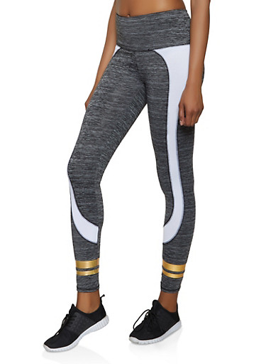 Varsity Stripe Color Block Active Leggings,CHARCOAL,large