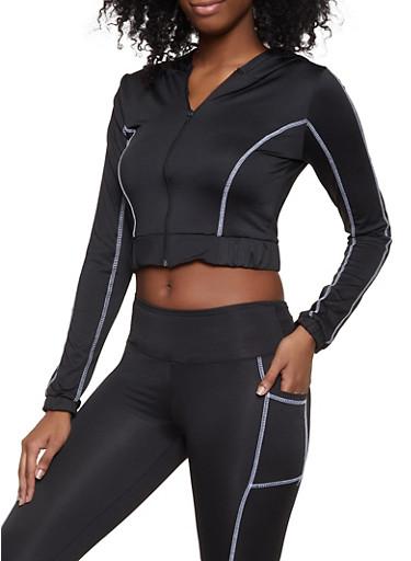 Decorative Stitch Active Hooded Zip Top,BLACK,large