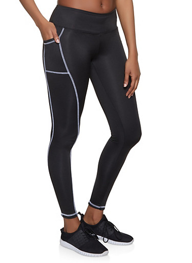 Decorative Stitch Active Leggings,BLACK,large