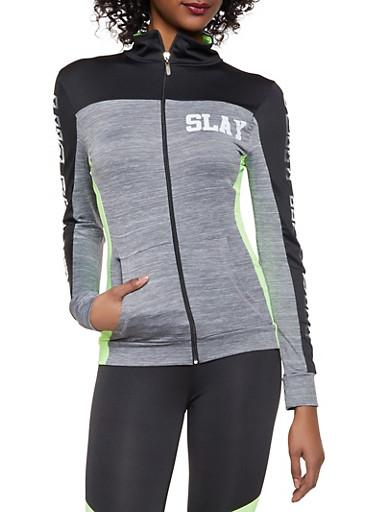 Slay All Day Activewear Sweatshirt,LIME,large