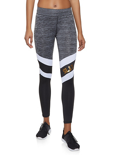 Slay Color Block Activewear Leggings,BLACK/WHITE,large