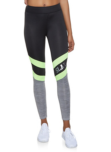 Slay Color Block Activewear Leggings,LIME,large
