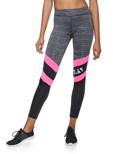 Slay Color Block Activewear Leggings,PINK,large