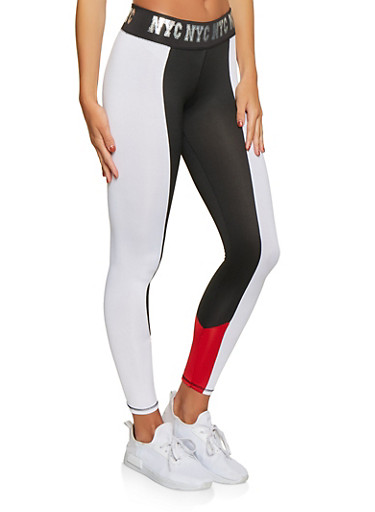 NYC Graphic Waistband Activewear Leggings,BLACK/WHITE,large