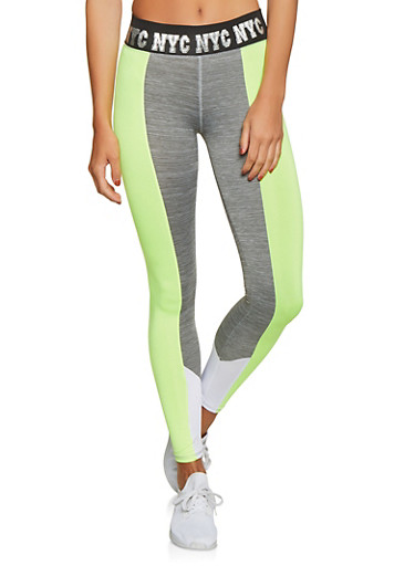 NYC Graphic Waistband Activewear Leggings,LIME,large