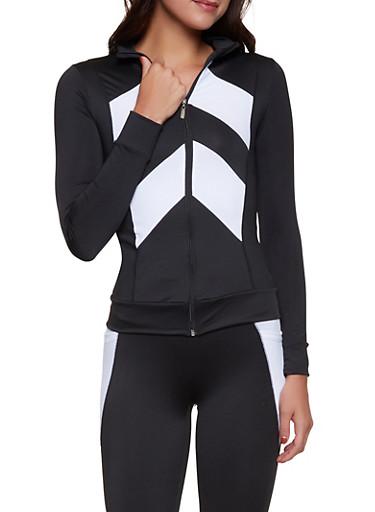Chevron Color Block Active Zip Top,BLACK/WHITE,large