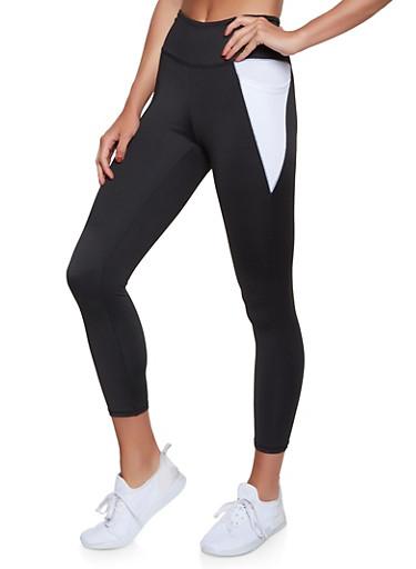 2 Pocket Color Block Activewear Leggings,BLACK/WHITE,large