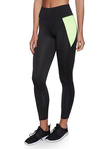 2 Pocket Color Block Activewear Leggings,LIME,large