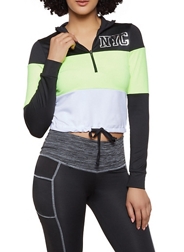 NYC Cropped Color Block Active Top,LIME,large