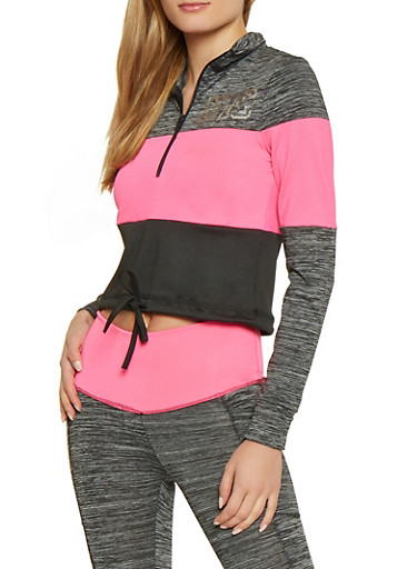 NYC Cropped Color Block Active Top,PINK,large