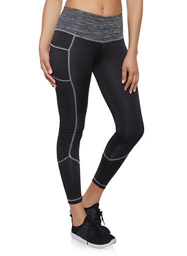 Marled Contrast Waist Active Leggings,LIME,large