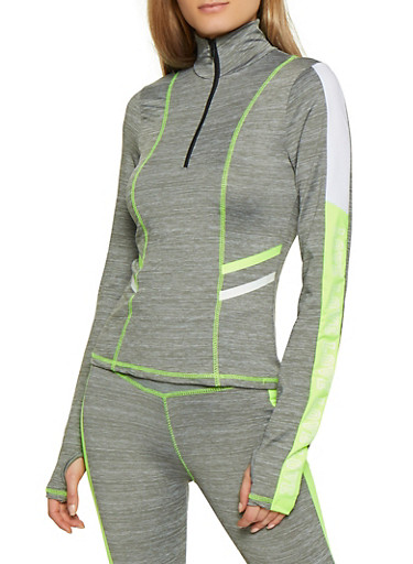 Love Graphic Sleeve Active Top,LIME,large