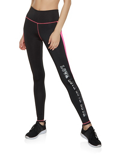 Love Color Block Active Leggings,BLACK/WHITE,large