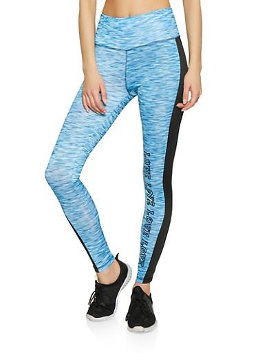 Love Color Block Active Leggings,BLUE,large