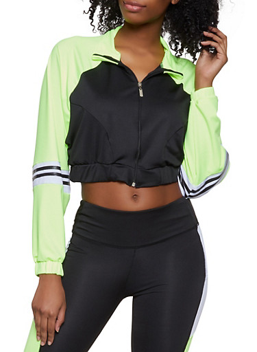 Color Block Cropped Active Sweatshirt,LIME,large