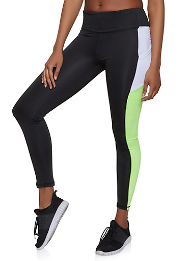 Color Block Cell Phone Pocket Leggings,LIME,large