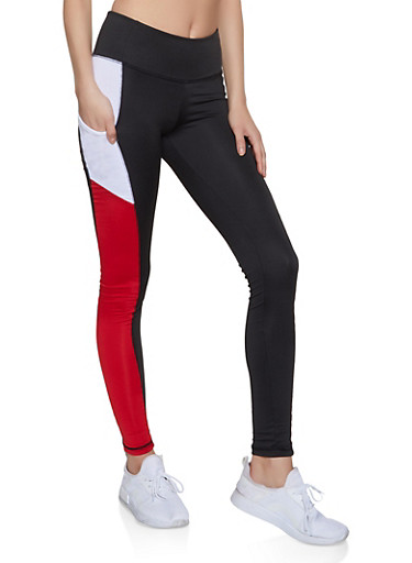 Color Block Cell Phone Pocket Leggings,RED,large