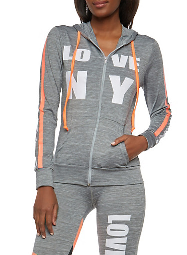 Love NY Graphic Active Hooded Top,CHARCOAL,large