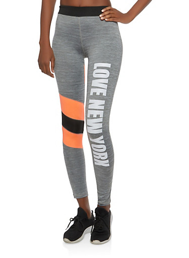 Love NY Graphic Active Leggings,CHARCOAL,large