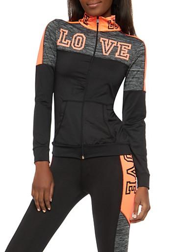 Love Foil Graphic Active Sweatshirt,BLACK,large