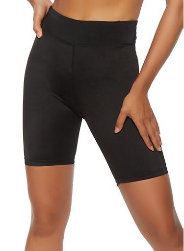 Solid Spandex Biker Shorts,BLACK,large
