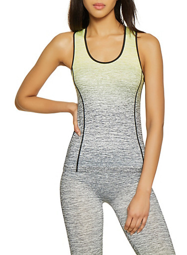 Two Tone Active Tank Top,YELLOW,large