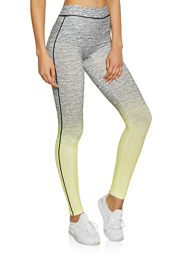 Two Tone Active Leggings,YELLOW,large